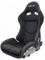 NRG Reclinable FRP Bucket Seat - Black with Red Stitching (Silver Shell)