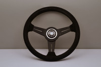 Nardi Classic 330mm Steering Wheel - Black Suede Outer / Black Spokes / Black Stitching