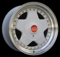 "16x8"" 009R wheel in SPECIAL EDITION WHITE WITH GOLD RIVETS & Red/Gold Center Cap."