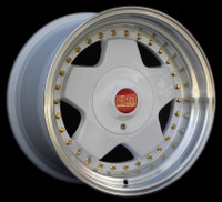 "16x9"" ESM 009R in SPECIAL EDITION WHITE WITH GOLD RIVETS & Red/Gold Center Cap."
