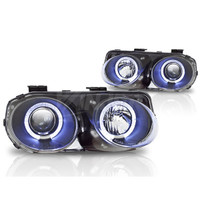 Winjet Projector Headlight Replacements  (Black / Clear) - Acura Integra 98-01