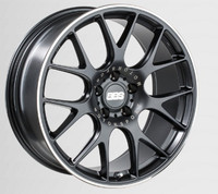 BBS CH-R 18x8 5x100 ET38 Satin Black Polished Rim Protector Wheel -70mm PFS/Clip Required