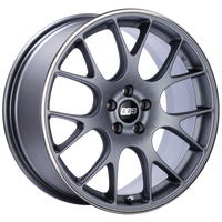 BBS CH-R 18x8 5x100 ET38 Satin Titanium Polished Rim Protector Wheel -70mm PFS/Clip Required