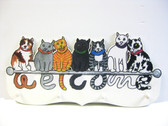WELCOME SIGN WITH CATS PATTERN