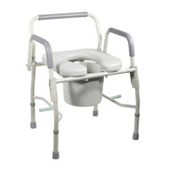Steel Drop Arm Bedside Commode with Padded Seat & Arms - 11125pskd-1