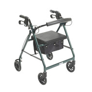 Green Rollator Walker with Fold Up and Removable Back Support and Padded Seat - r726gr