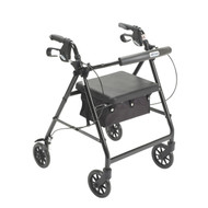 Black Rollator Walker with Fold Up and Removable Back Support and Padded Seat - r726bk