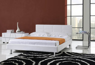 Modern PU leather platform bed (black and white)