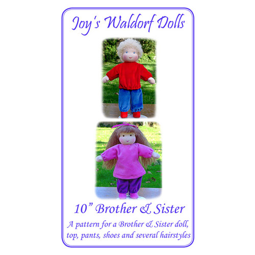 """10"""" Brother and Sister Doll Pattern"""