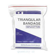 S+M Triangular Bandage Cotton Std - Pack (12)