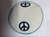 Teal on White Double Peace Sign
