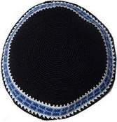 #M Blue and White Border on Black