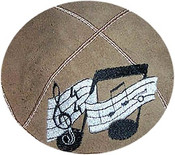 Musical Note with Sheet Music, Suede