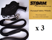 Black Storm  with breakaway lanyard  Loudest Whistle in World 3 pack