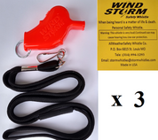 Orange Windstorm  with breakaway lanyard  Loudest Whistle in World 3 pack