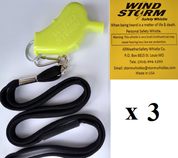 Yellow  Windstorm  with breakaway lanyard  Loudest Whistle in World 3 pack