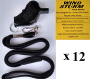 Black  Windstorm  with breakaway lanyard  Loudest Whistle in World 12 pack