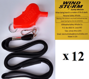 Orange Windstorm  with breakaway lanyard  Loudest Whistle in World 12 pack
