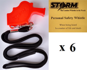 Orange Storm  with breakaway lanyard  Loudest Whistle in World 6 pack