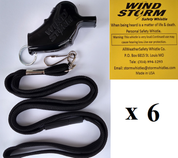 Black  Windstorm  with breakaway lanyard  Loudest Whistle in World 6 pack