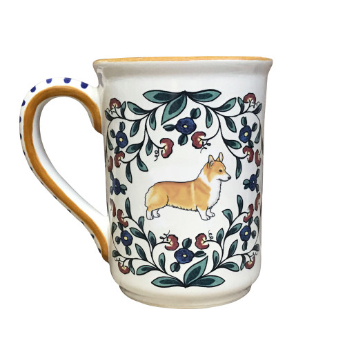 Handmade red and white Corgi mug by shepherds-grove.com
