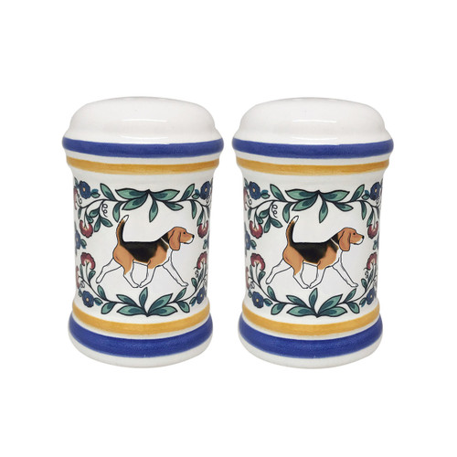 Tricolor Beagle salt and pepper shaker set handmade by shepherds-grove.com