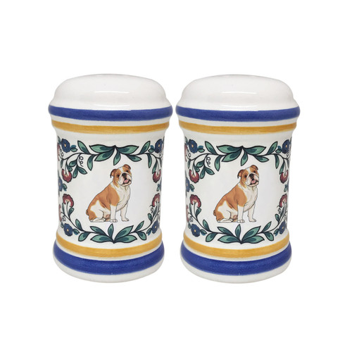 Red and white Bulldog salt and pepper shaker set handmade by shepherds-grove.com