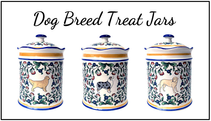 Dog breed treat jars - handmade by shepherds-grove.com