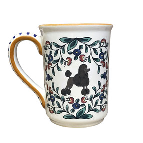 Handmade black show-cut Poodle mug from shepherds-grove.com.