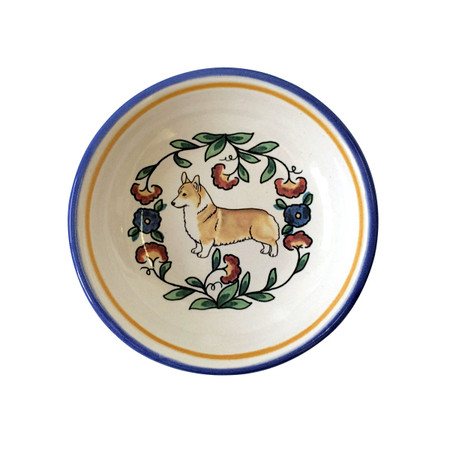 Red and white Pembroke Welsh Corgi dipping bowl from shepherds-grove.com