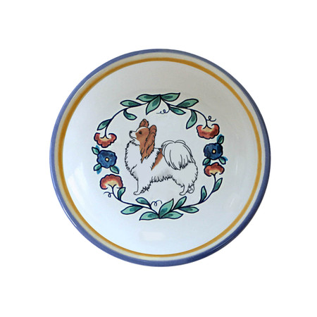 Red and white Papillon dog lover ring dish / dipping bowl from shepherds-grove.com.