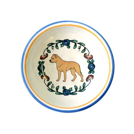 Tan Staffordshire Terrier ring dish/  dipping bowl from shepherds-grove.com
