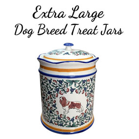 Extra Large blenheim Cavalier King Charles Spaniel treat jar.