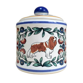 Blenheim Cavalier King Charles Spaniel sugar bowl, handmade by shepherds-grove.com.