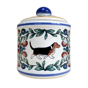 Tricolor Basset hound sugar bowl made by shepherds-grove.com