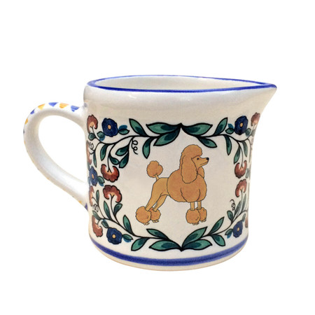 Apricot Poodle (with show-cut) creamer - handmade by shepherds-grove.com