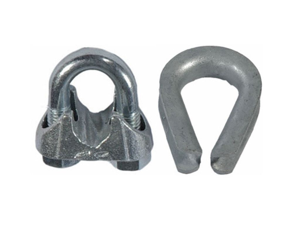 HarborWare Clamp & Thimble Set, Galvanized Steel 5/16-in