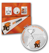 2012 THE BC LIONS - 25-CENT COLOURED COIN AND STAMP SET