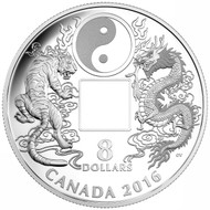 2016 $8 FINE SILVER COIN TIGER AND DRAGON YIN AND YANG