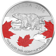 2016 $25 FINE SILVER COIN - TRUE NORTH
