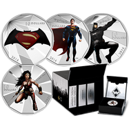 2016 $10 FINE SILVER 4-COIN SET BATMAN V SUPERMAN: DAWN OF JUSTICE™ - WITH COLLECTORS BOX