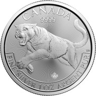 2016 $5 FINE SILVER COIN - COUGAR - COMES IN SQUARE MATTED CAPSULE