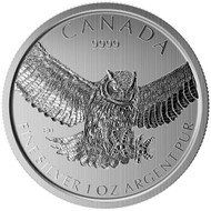 2016 $5 FINE SILVER COIN - HORNED OWL - COMES IN SQUARE MATTED CAPSULE