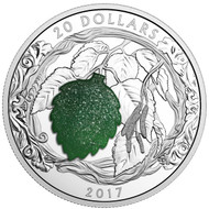 2017 $20 FINE SILVER COIN BRILLIANT BIRCH LEAVES WITH DRUSY STONE