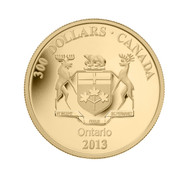 2013 14-KARAT GOLD COIN - ONTARIO COAT OF ARMS - MINTAGE: 500