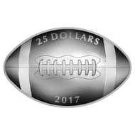 2017 $25 FINE SILVER COIN FOOTBALL-SHAPED AND CURVED COIN