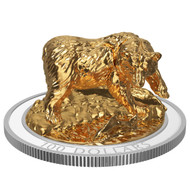 2017 $100 FINE SILVER COIN SCULPTURE OF MAJESTIC CANADIAN ANIMALS: GRIZZLY BEAR