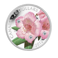2012 $20 FINE SILVER COIN - RHODODENDRON WILDFLOWER - SWAROVSKI CRYSTAL WATER DROPLETS