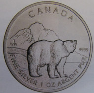 TUBE OF 25 -  2011 $5 FINE SILVER COIN - CANADIAN GRIZZLY BEAR