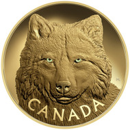 2017 $2,500 PURE GOLD COIN IN THE EYES OF THE TIMBER WOLF